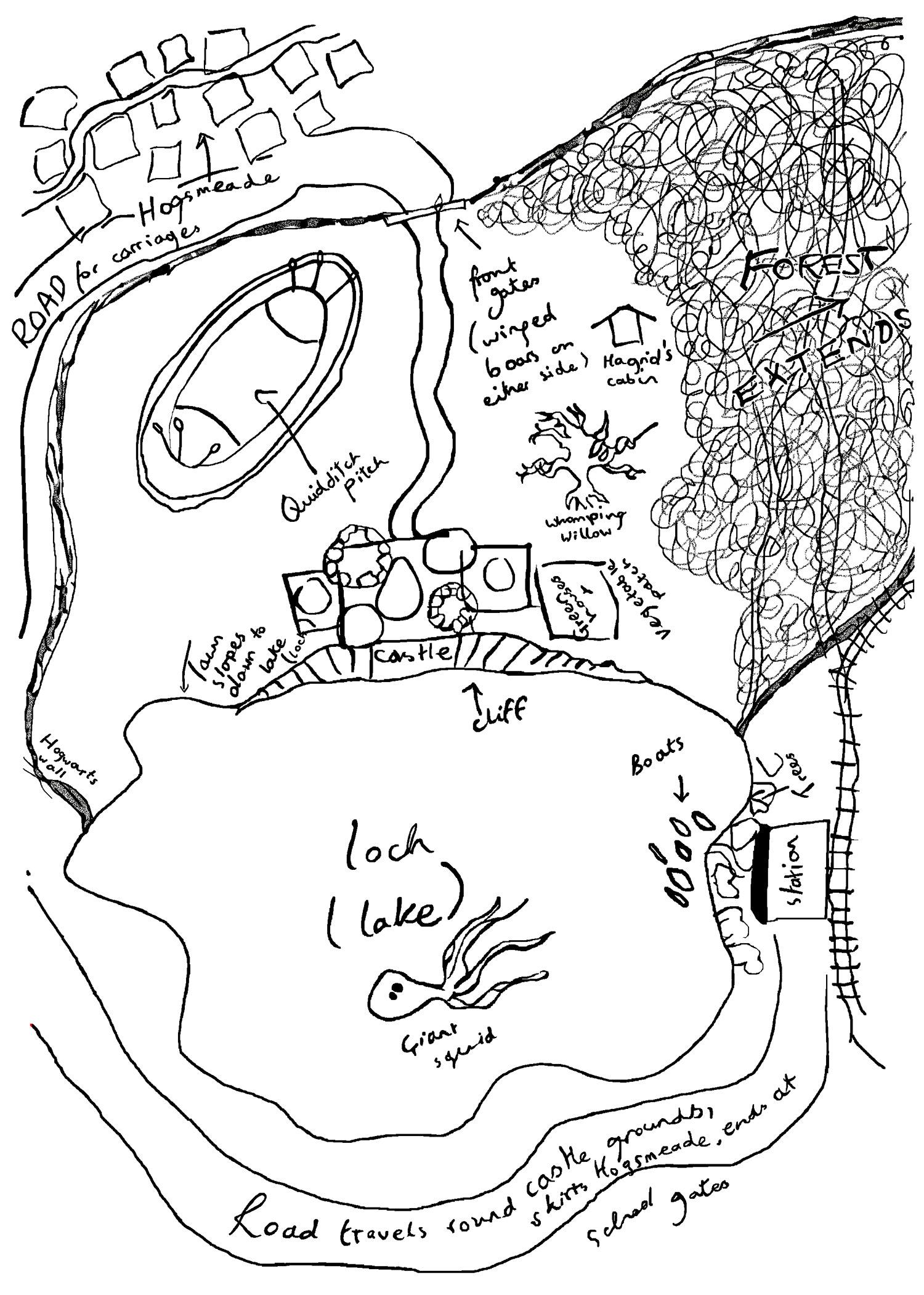 J.K. Rowling's original Hogwarts sketch