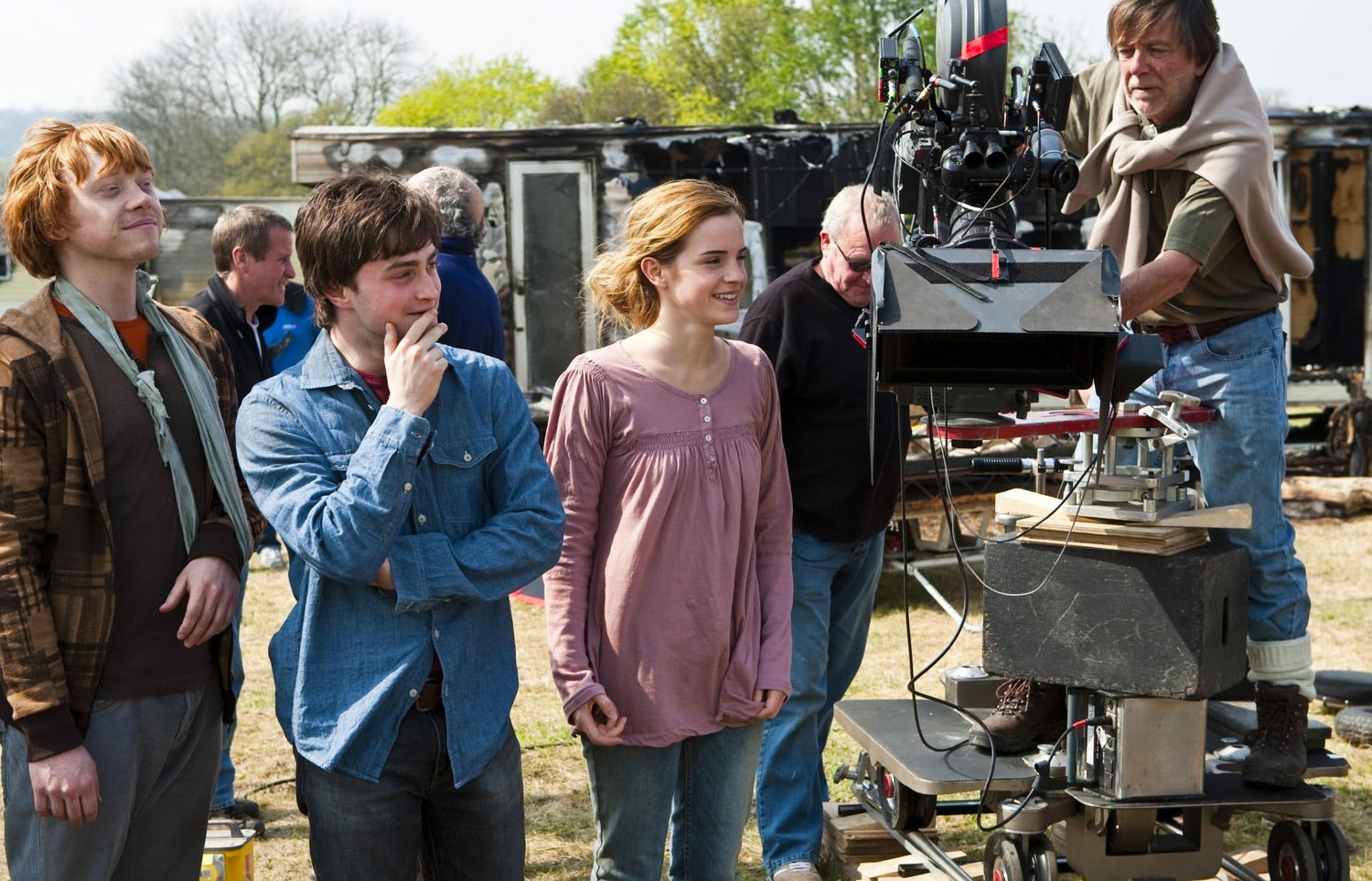 Rupert, Dan and Emma filming outdoors