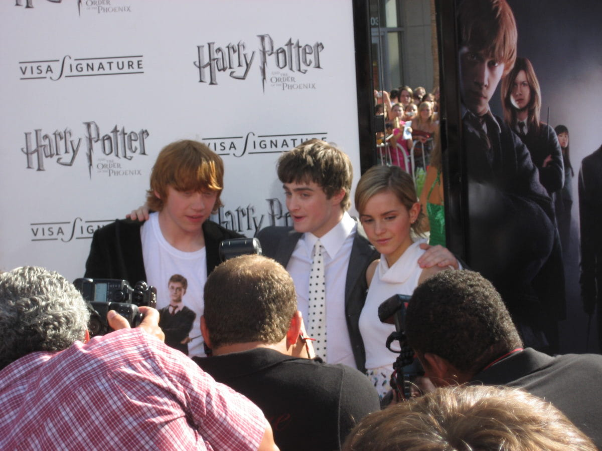 Rupert Grint, Daniel Radcliffe and Emma Watson at the Los Angeles 'Order of the Phoenix' premiere