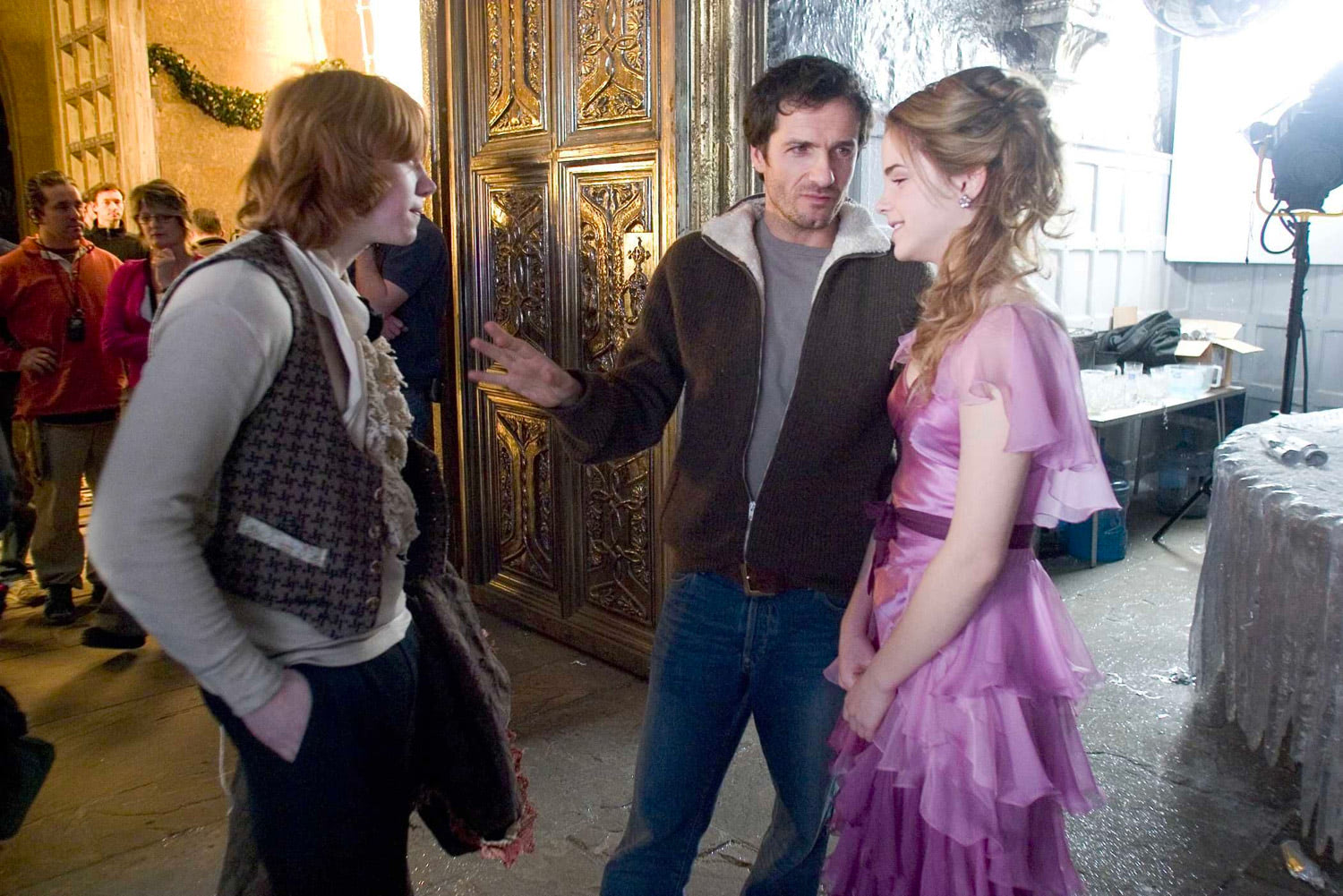 Rupert Grint, David Heyman and Emma Watson