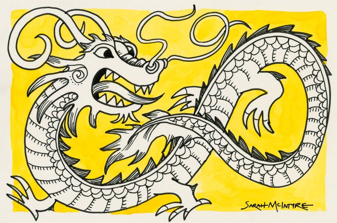Dragon (Sarah McIntyre Patronus on a Postcard)