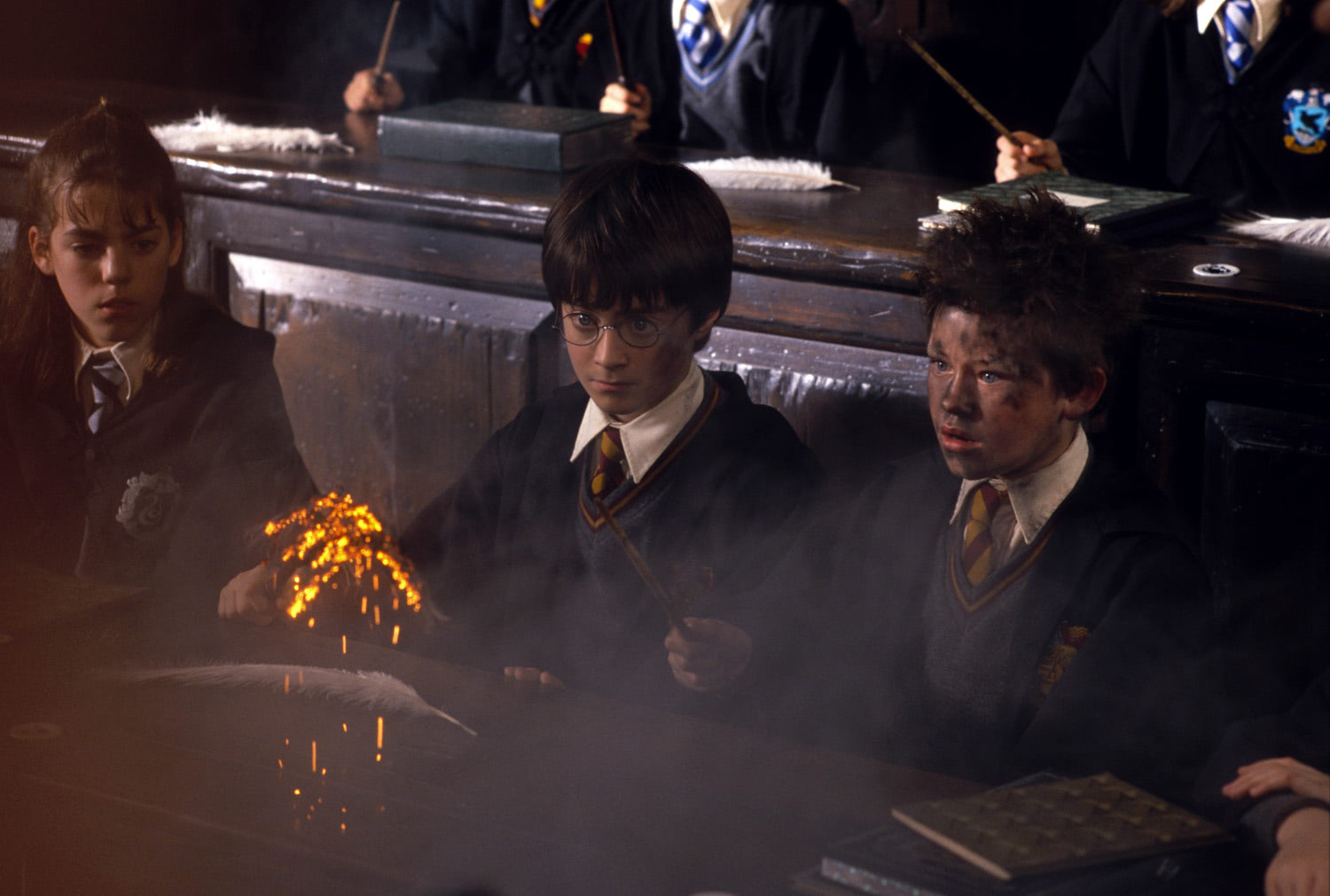 Seamus Finnigan blows up a feather