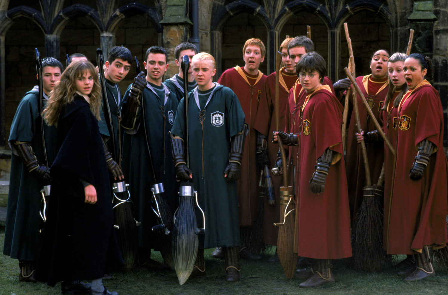Gryffindor and Slytherin Quidditch teams