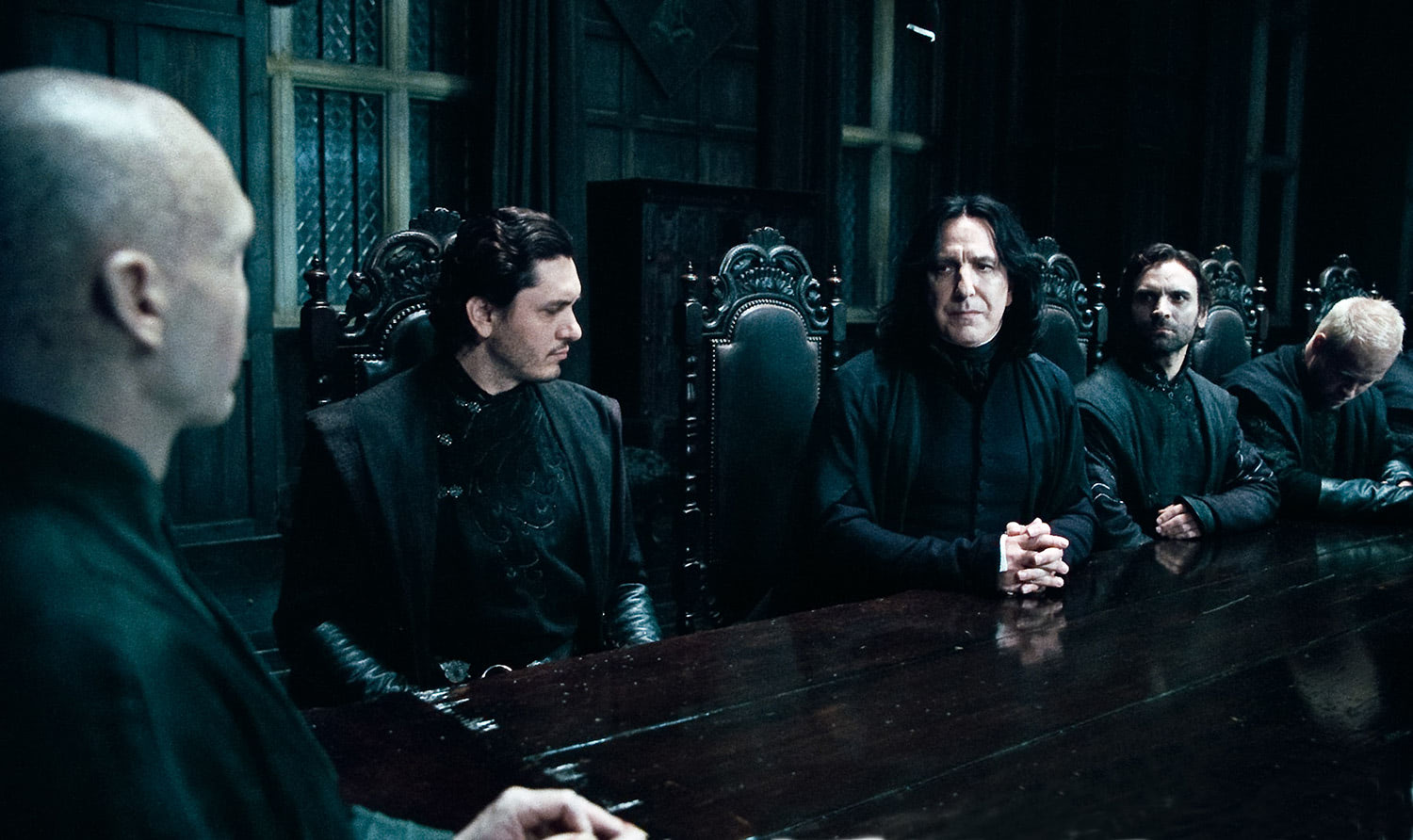 Snape and Voldemort speak at Malfoy Manor