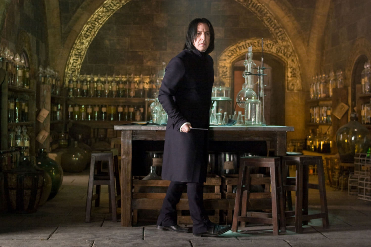 Snape in the Potions classroom