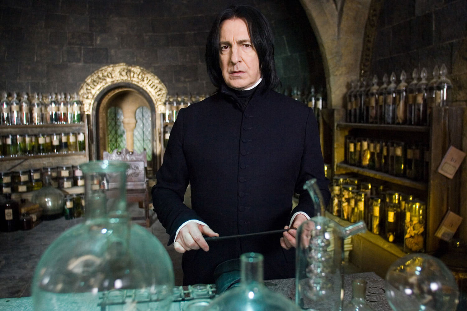 Snape with wand at the ready