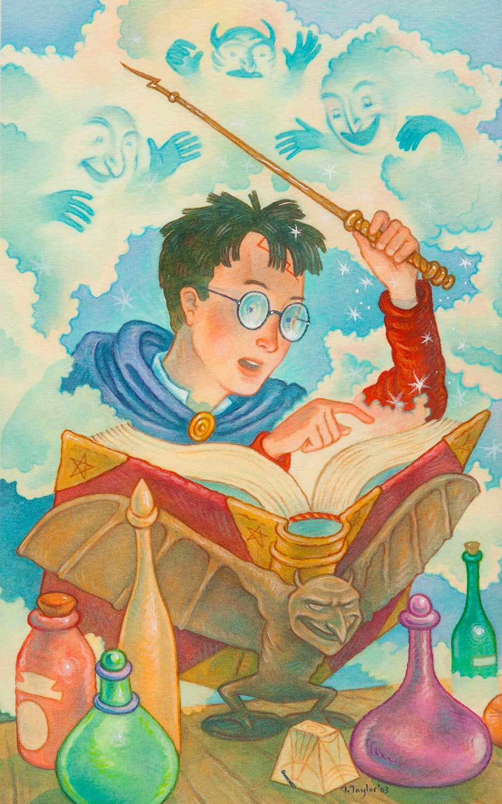 Harry with spellbook (Thomas Taylor illustration)