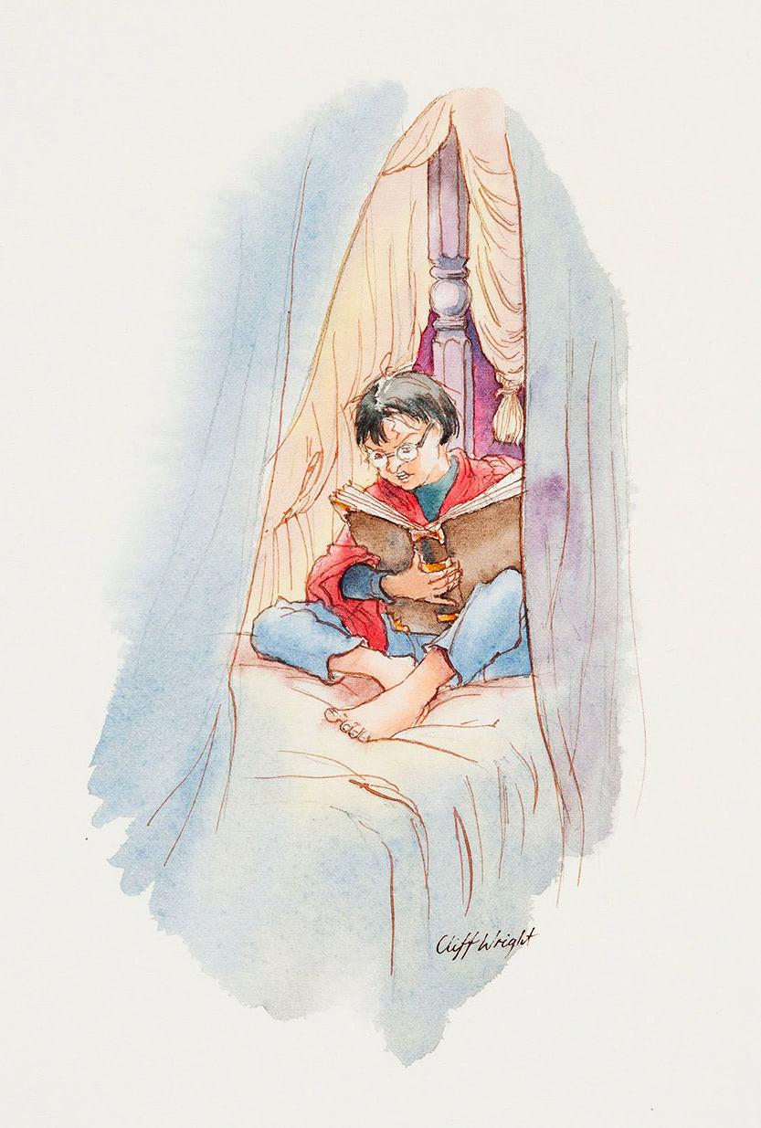 Studying at Hogwarts (Cliff Wright illustration)