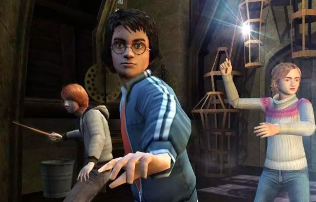 The trio casting spells (Goblet of Fire video game)