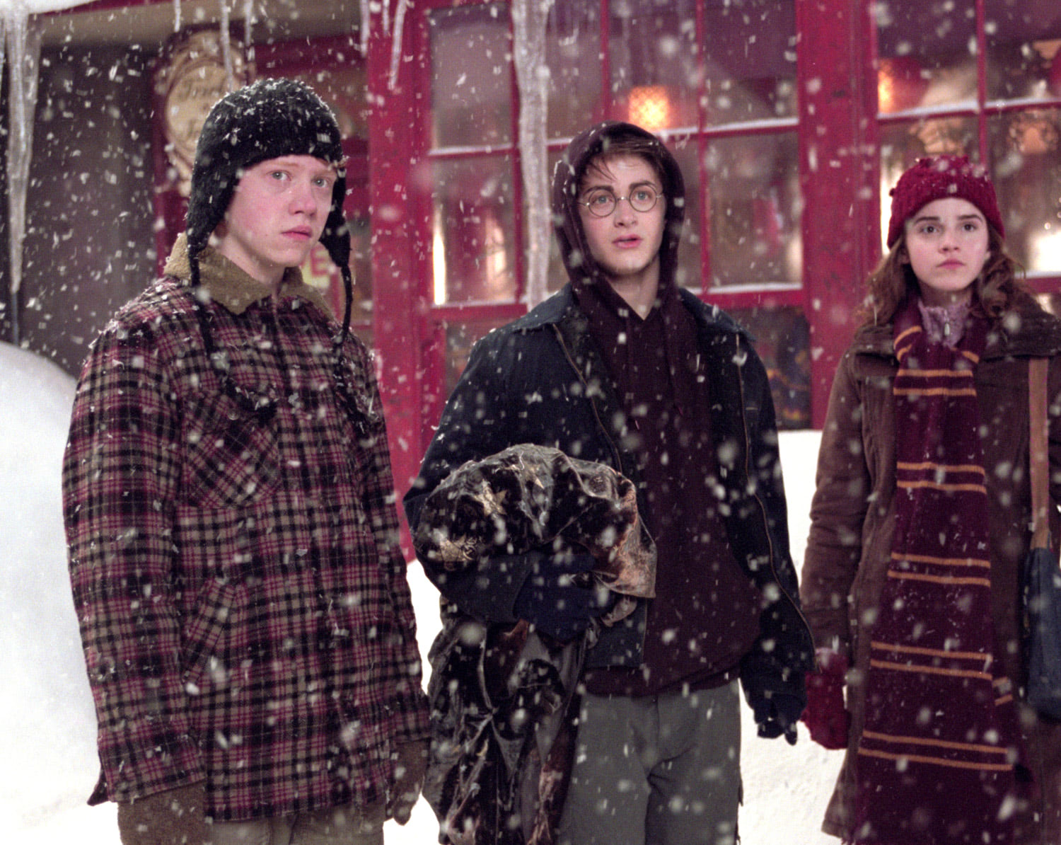 The trio in Hogsmeade
