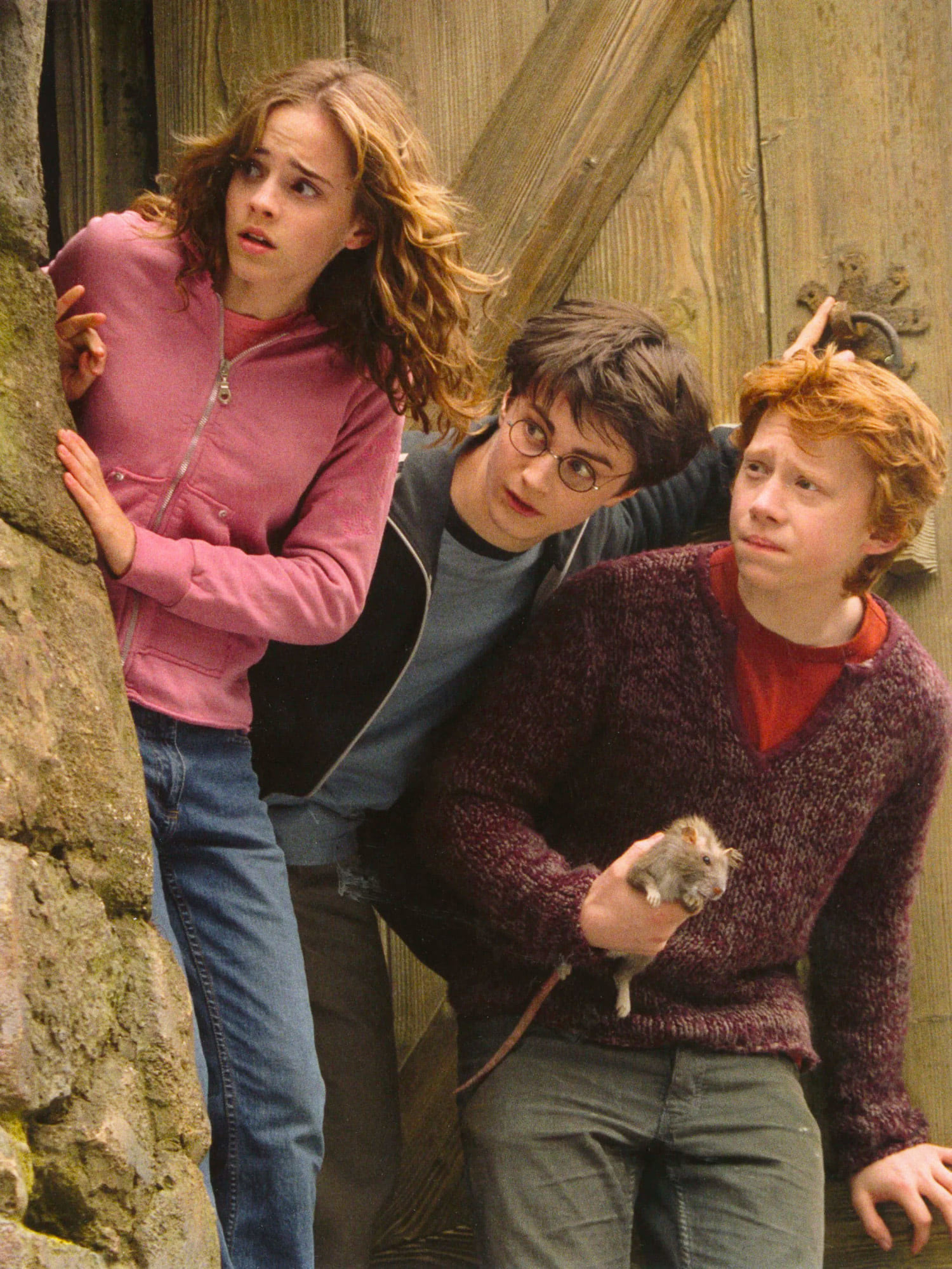 The trio look out of Hagrid's Hut