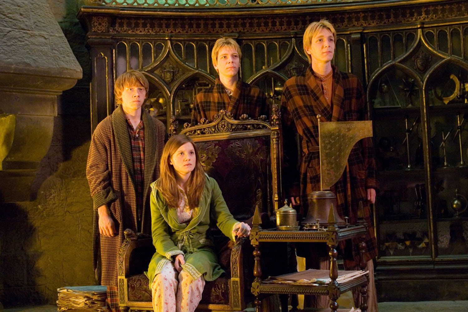 The Weasley family in Dumbledore's office