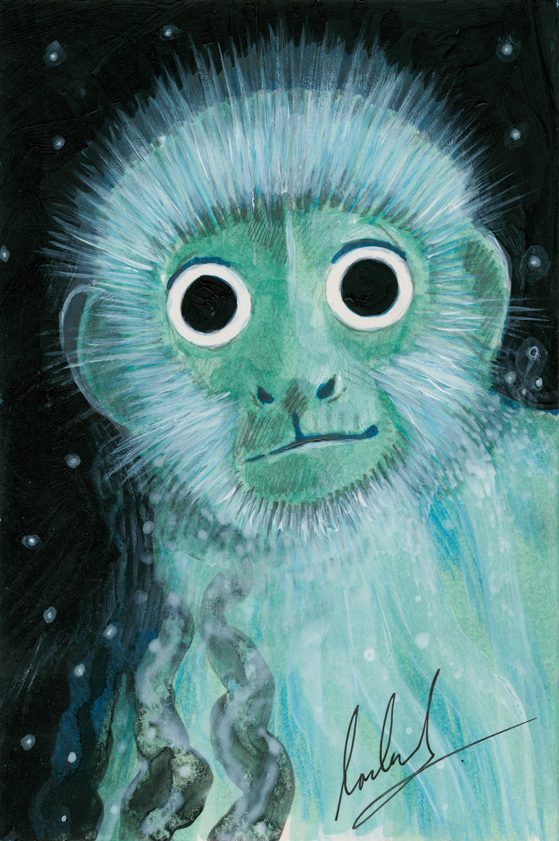 Capuchin Monkey (Tom Percival Patronus on a Postcard)