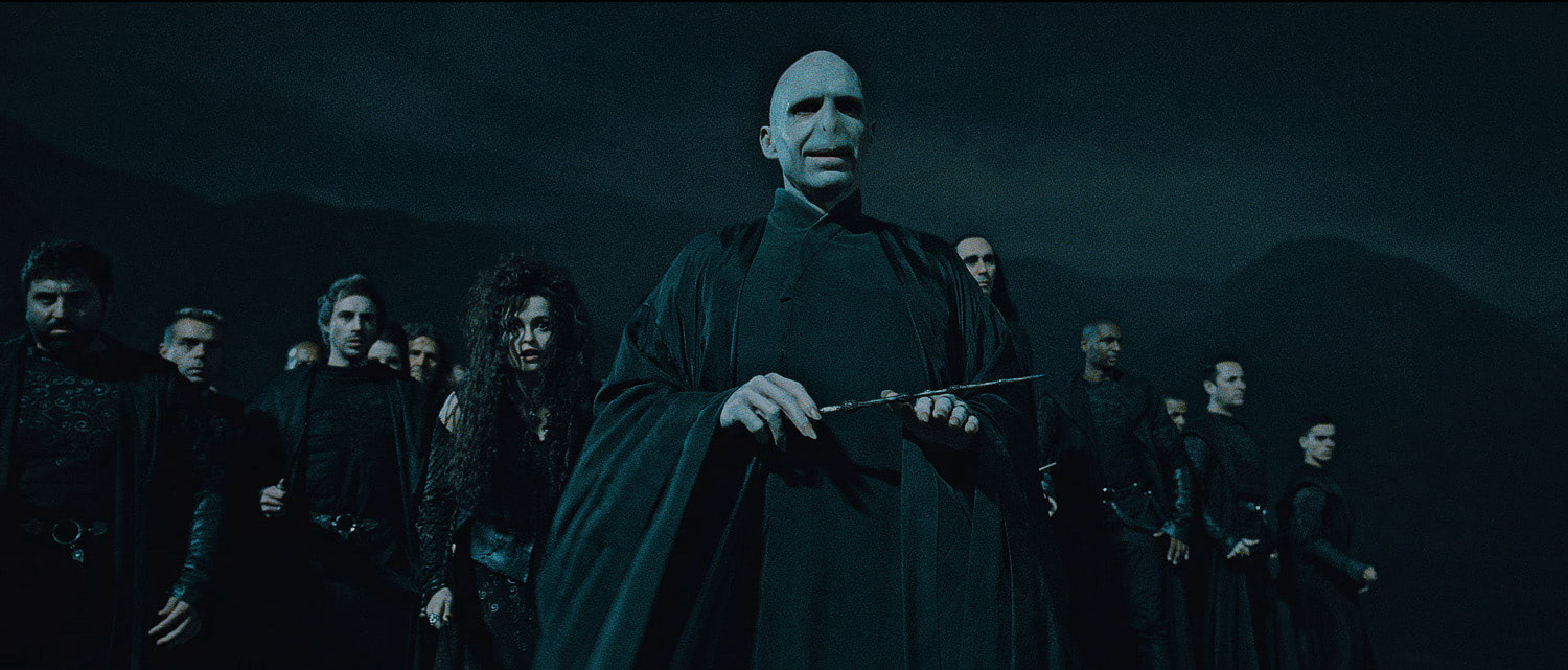 Voldemort and the Death Eaters at the ready