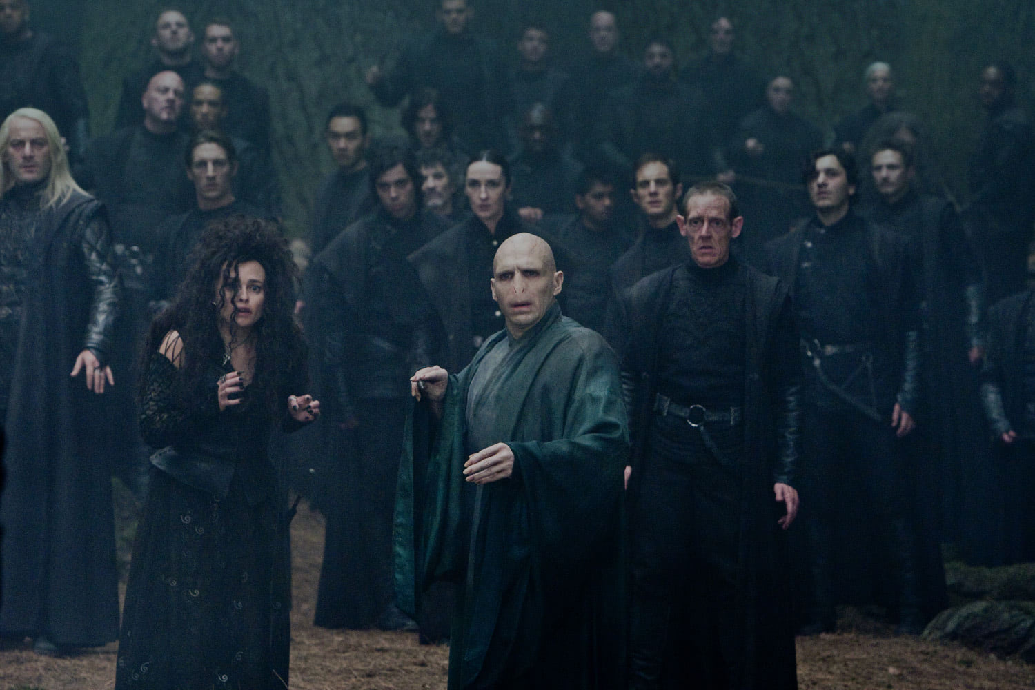 Voldemort and the Death Eaters in the Forbidden Forest