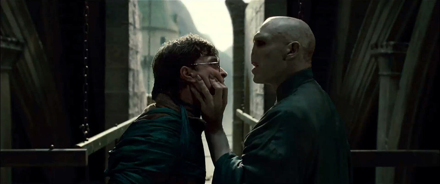 Voldemort grabs Harry's face