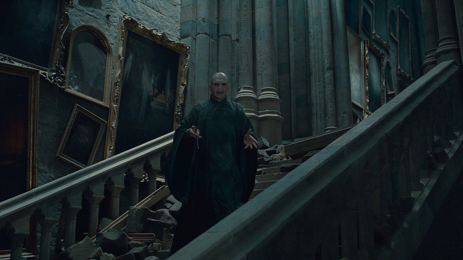 Voldemort on a staircase